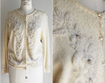 Vintage 60s Beaded Cardigan Sweater Ivory Wool Gold Beads 1960s ...