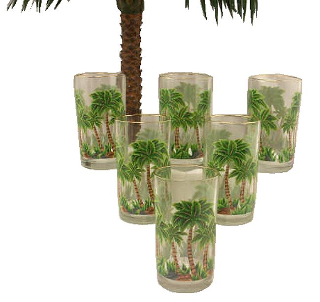 PALM TREE DRINKING GLASSES 6PC SET 16oz