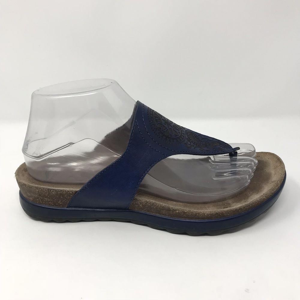 a03a2c4a4191 Dankso 38 Priya Womens Sz 7.5 Blue Leather Paisley Thong Flip Flop Casual  Sandal  Dansko  FlipFlops  Casual