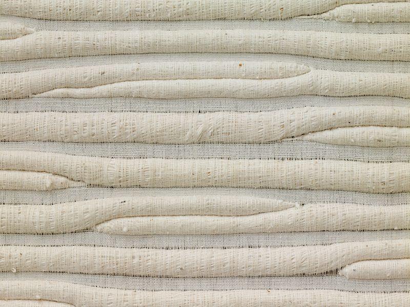 Sheila Hicks (1934), USA: Linen Letter to Malevitch, 1975; 182 x 185cm, detail; cotton; collection Fondation Toms Pauli, Lausanne; photo Beatrijs Sterk