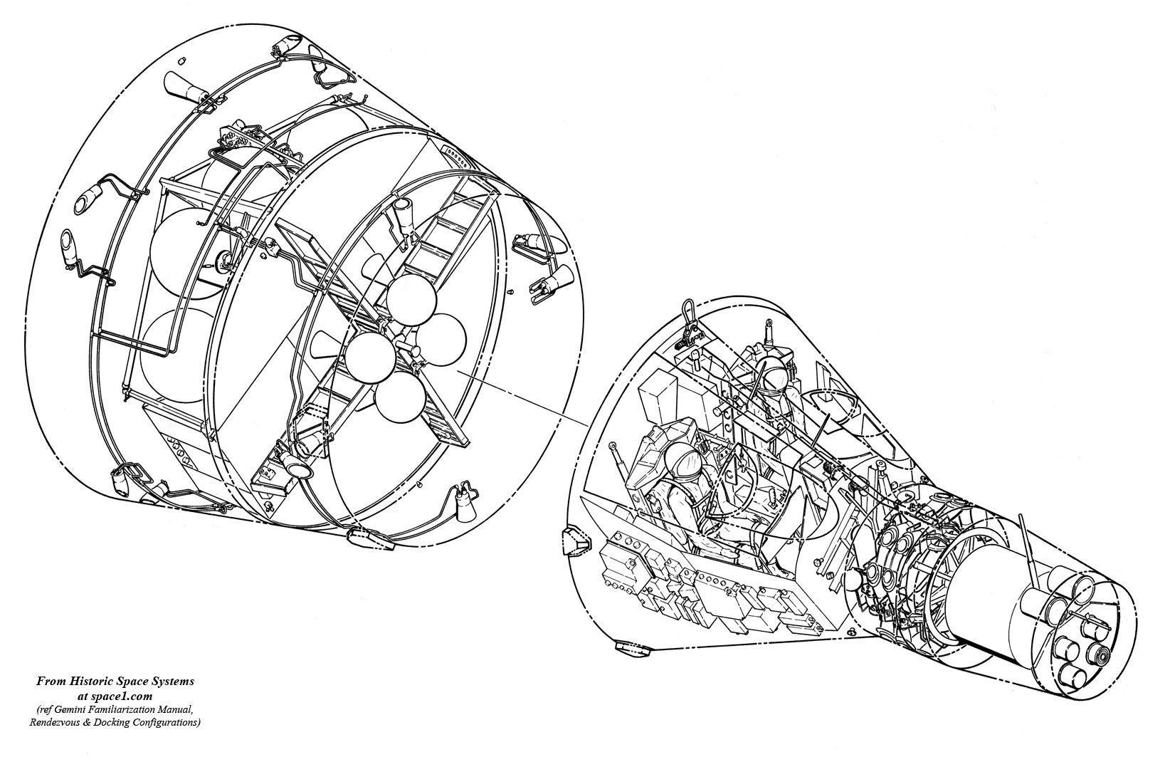 Gemini spacecraft cutaway (from Gemini Familiarization