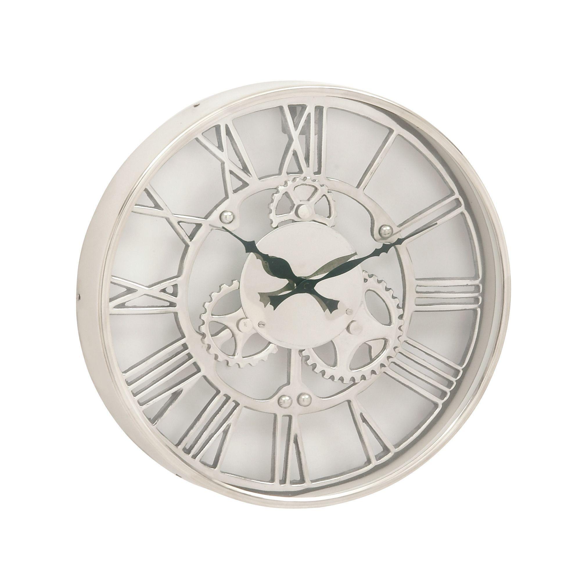 Benzara aluminum 14 inch wall clock silver black acacia benzara aluminum 14 inch wall clock amipublicfo Choice Image