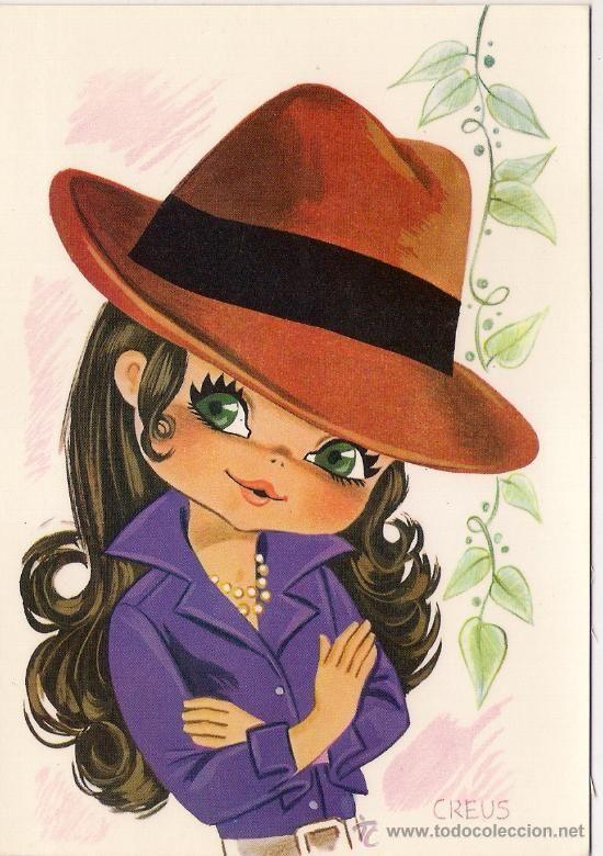 28693 Postal Dibujo Nina Con Sombrero Ilustracion Creus Ediciones Savir Cosas Lindas Para Dibujar Dibujos De Sombreros Arte Lindo