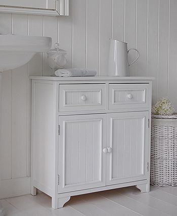 Maine Free Standing Bathroom Cabinet Side Image Double Cupboard Cabinet With Drawers In 2020 Bathroom Cupboards White Bathroom Furniture Bathroom Standing Cabinet
