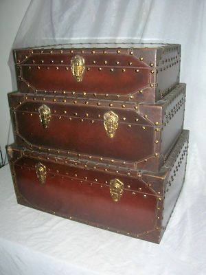 Antique Style Repro Stacked Steamer Trunk Suitecases One