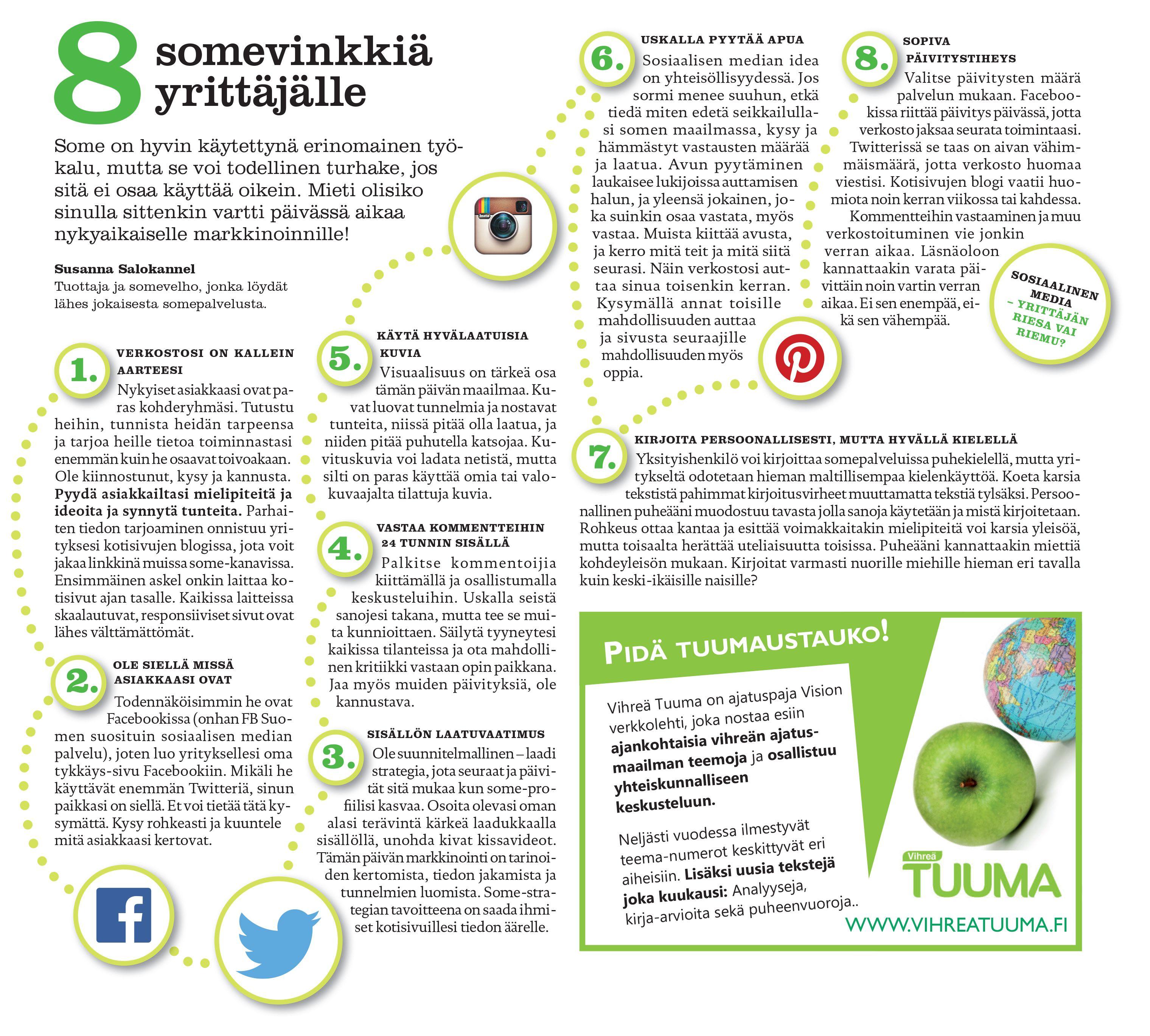 8 somevinkkiä yrittäjille | julkaistu Vihreiden Yrittäjien lehdessä 3.10.2014 | Susanna Salokannel