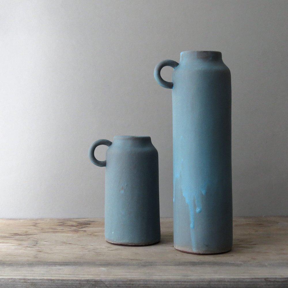 Tall Blue Stoneware Farmhouse Ceramic Jug Handle Flower Vase From Fig Yarrow Handmade Ceramics Vase Ceramics Ceramic Jug