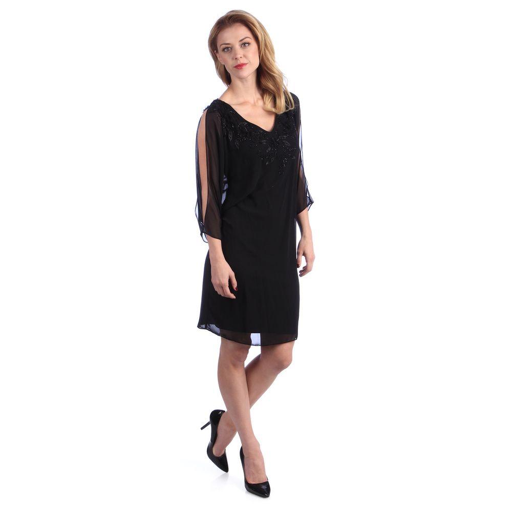 770fec4193aca Alex Evenings Women s Black Split Sleeve Poncho Dress