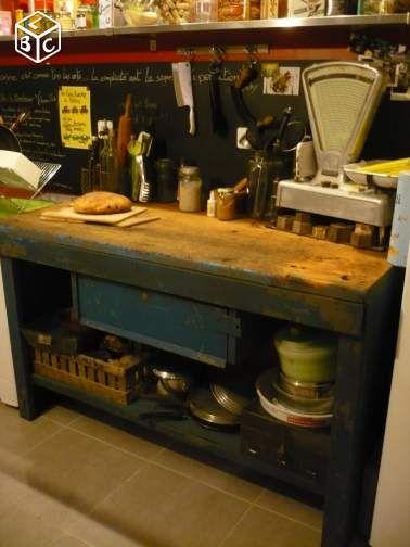 Etabli billot de cuisine bois et m tal ameublement Cuisine bois et metal