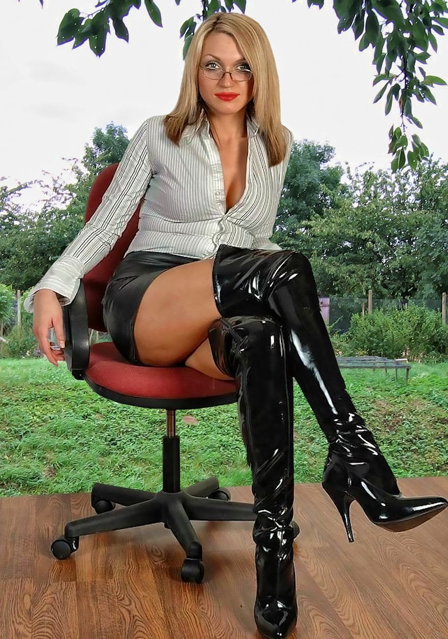 sexy women wearing sexy knee boots and mini skirts