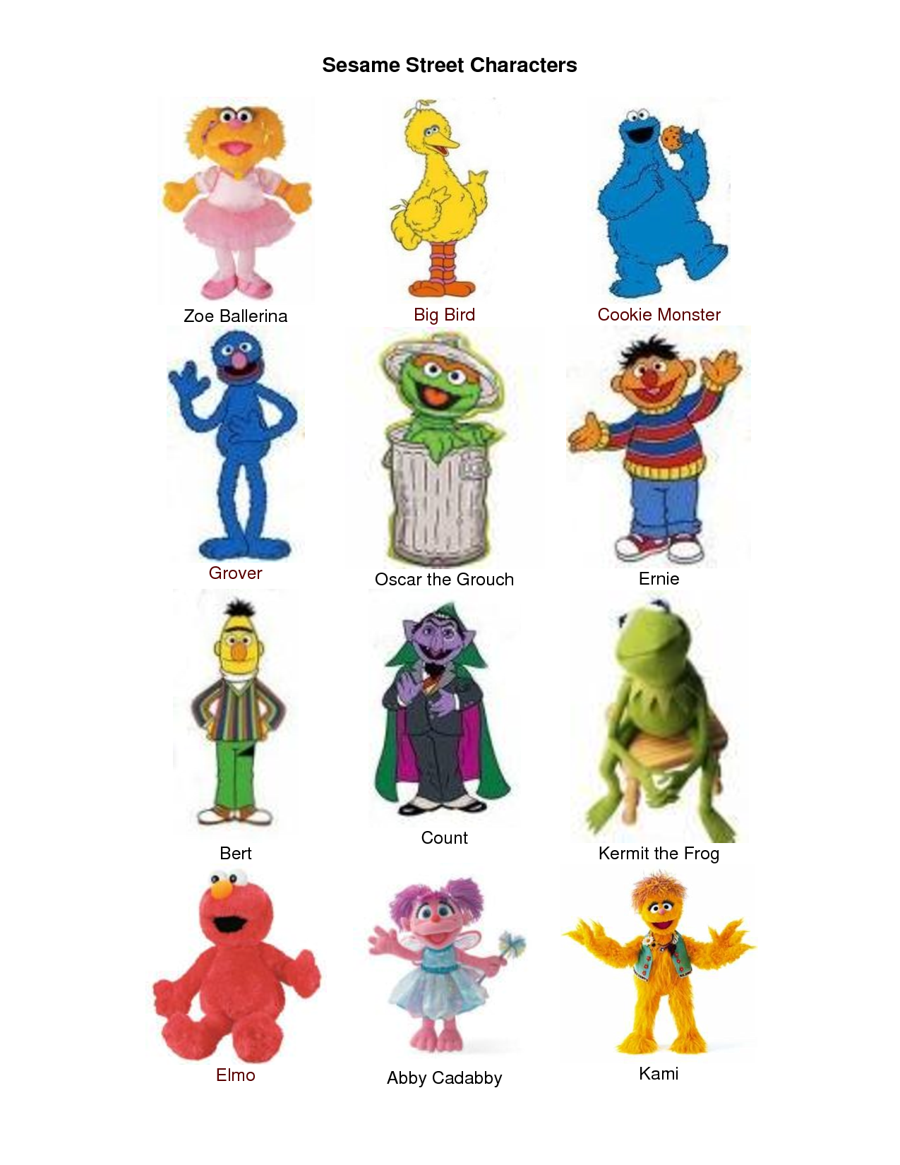 sesame street character pics - Google Search | Pieces and parts ...