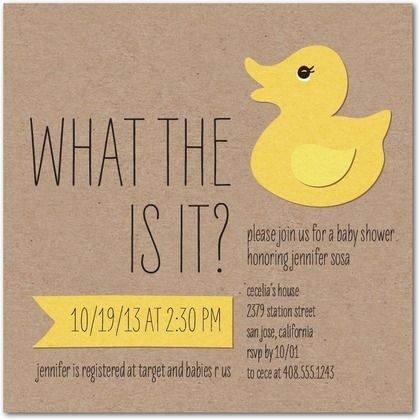 What the Duck Baby Shower Invitations in Lemon Design Collective