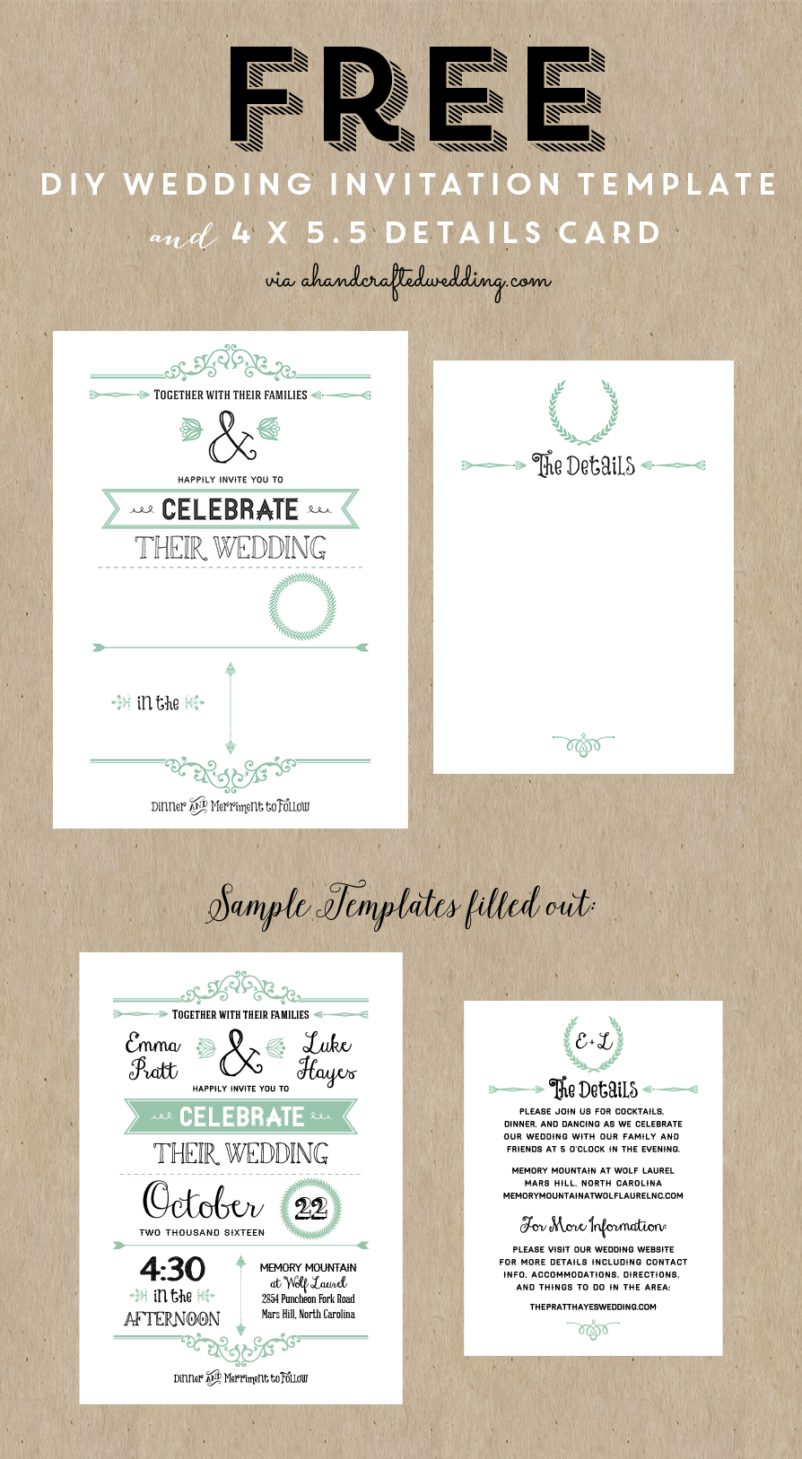 free wedding invitation template via ahandcraftedwedding, Wedding invitations