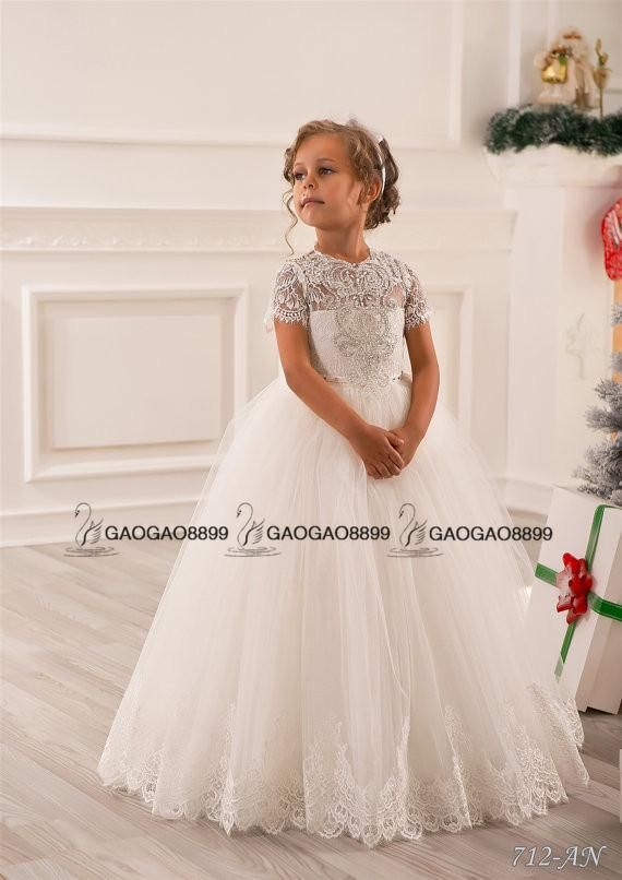 ed99d32ff631 Lace Beaded Little Girls Pageant Dresses Wedding Party Holiday ...