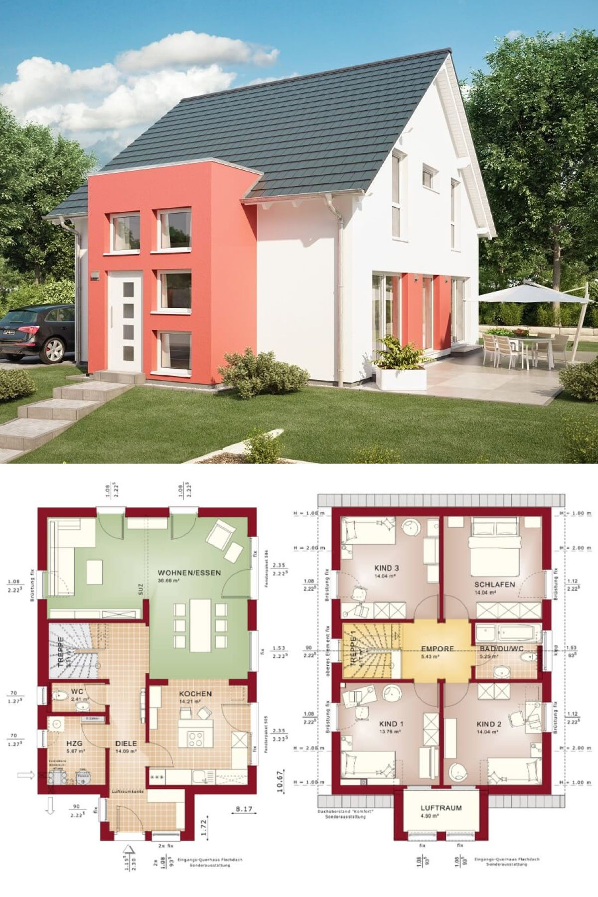 Haus Fassade Mit Roten Farbakzenten   Fertighaus Grundriss Celebration 137  V7 Bien Zenker   HausbauDirekt.