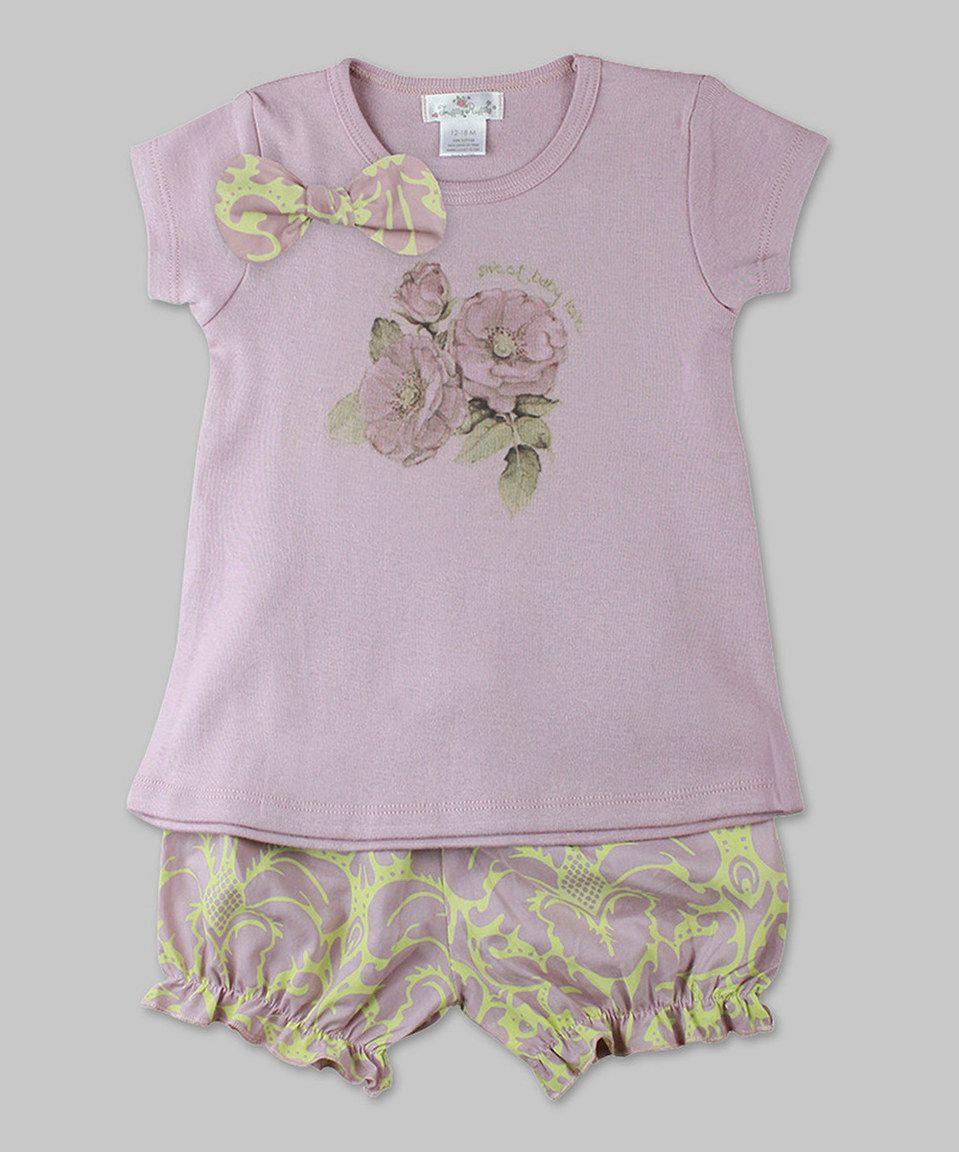Look at this #zulilyfind! Voilà Fancies Mauve & Green Floral Tee & Bloomers - Infant by Voilà Fancies #zulilyfinds