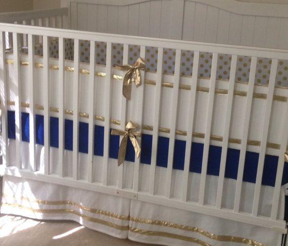 Gold and Royal Blue Crib Bedding Set Neverland Nursery