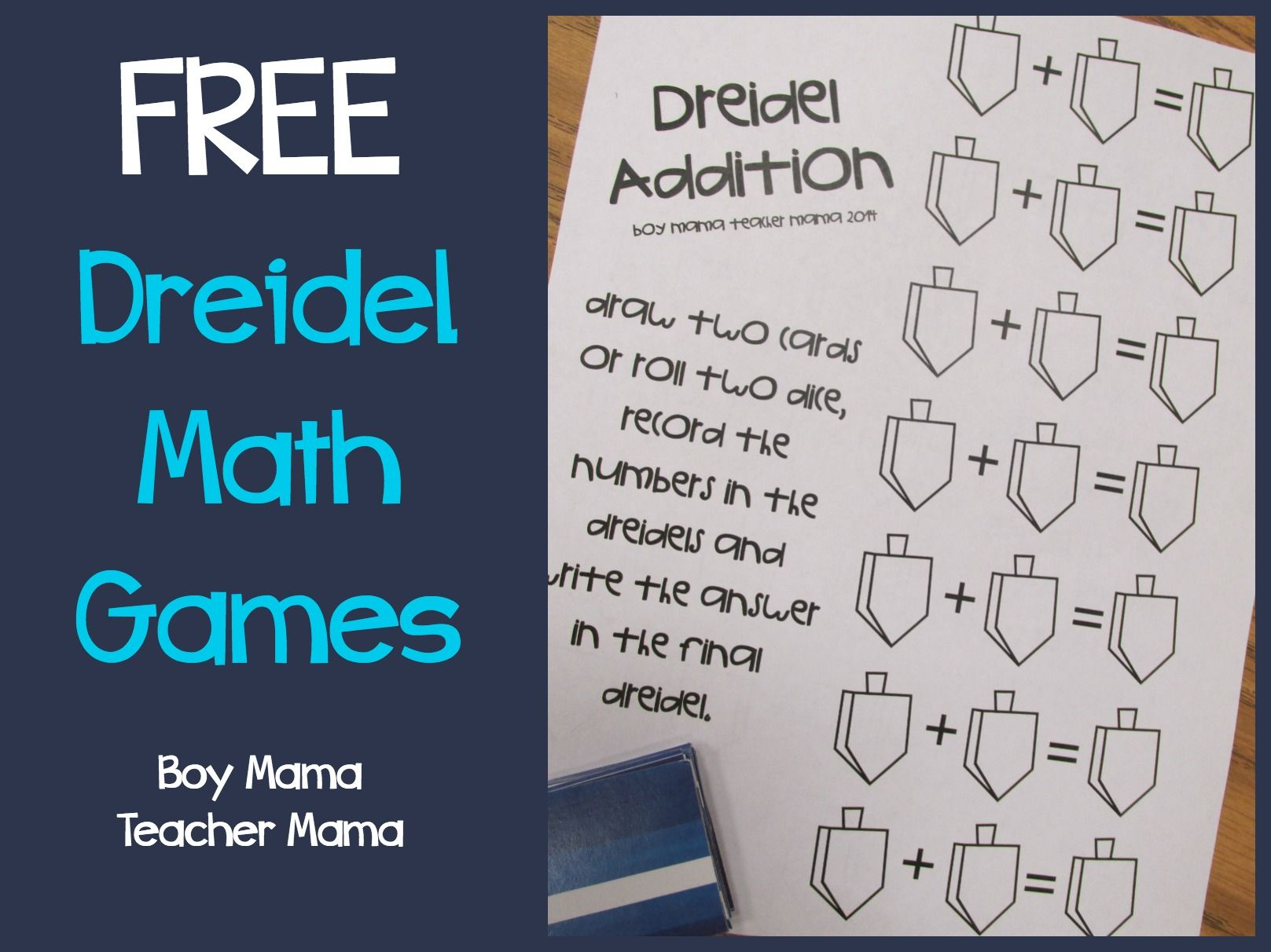 Teacher Mama Free Printable Dreidel Math Game After School Linky