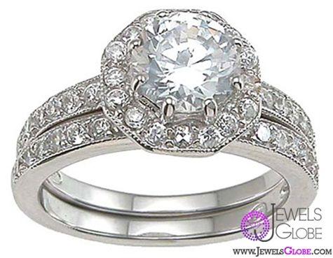 Women Diamond Sterling Silver Wedding Ring Sets