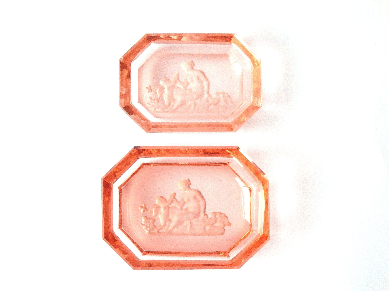 CZECH BOHEMIAN GLASS Vintage ART DECO Etched INTAGLIO SALT