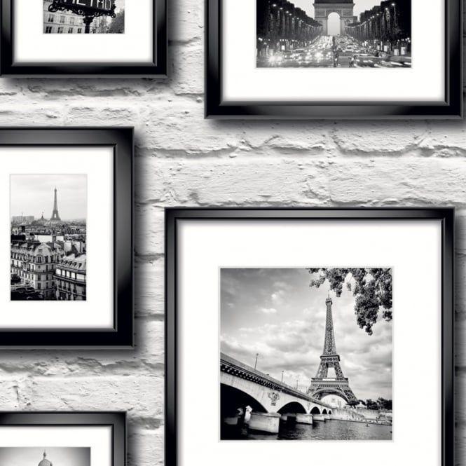 Muriva Paris In Frame Wallpaper Black White 77209 My Dream
