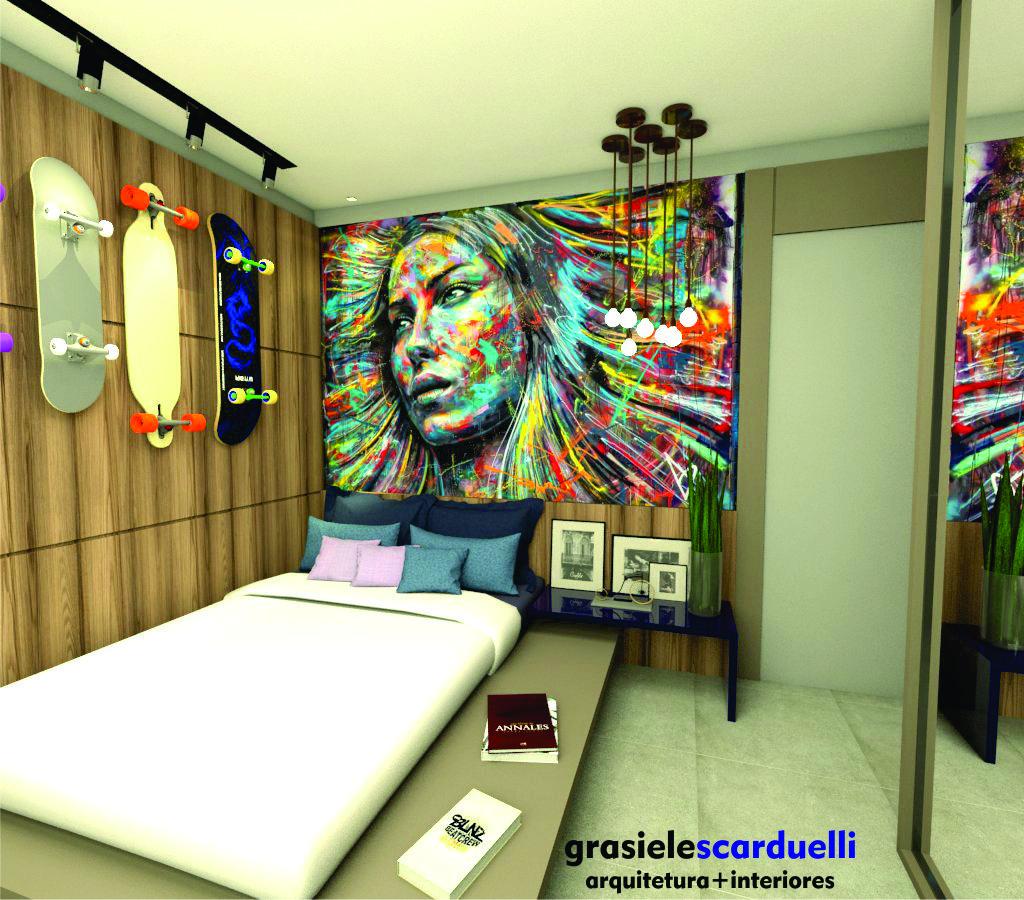 Dormit Rio Adolescente Skate Quarto De Adolescente Cor Azul E  ~ Grafite Parede Quarto Com Quarto Moderno Solteiro