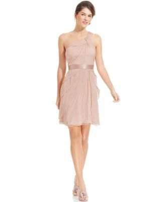 Adrianna Papell One-Shoulder Tiered Chiffon Dress | Adrianna ...