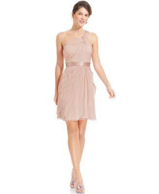 Adrianna Papell One-Shoulder Tiered Chiffon Dress | Adrianna ...