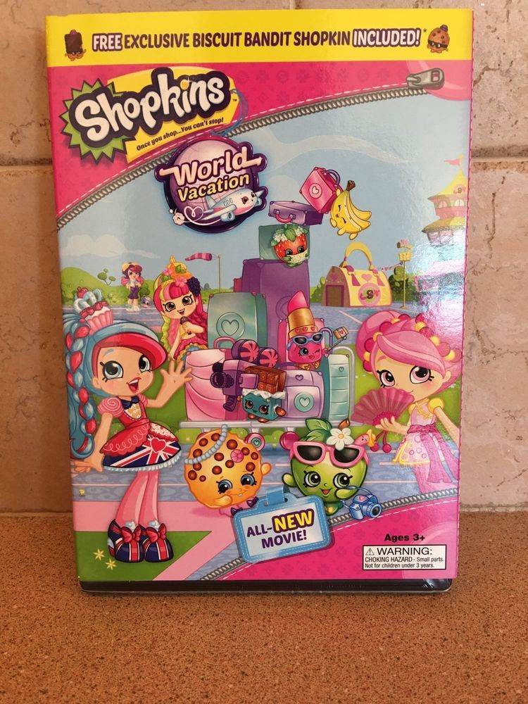 Shopkins World Vacation Dvd New 2017 Exclusive Biscuit Bandit Sealed
