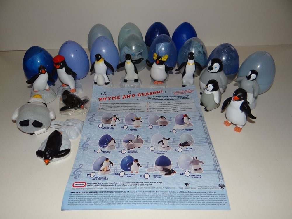 Toys For Feet : Happy feet burger king toys full set of hard to find