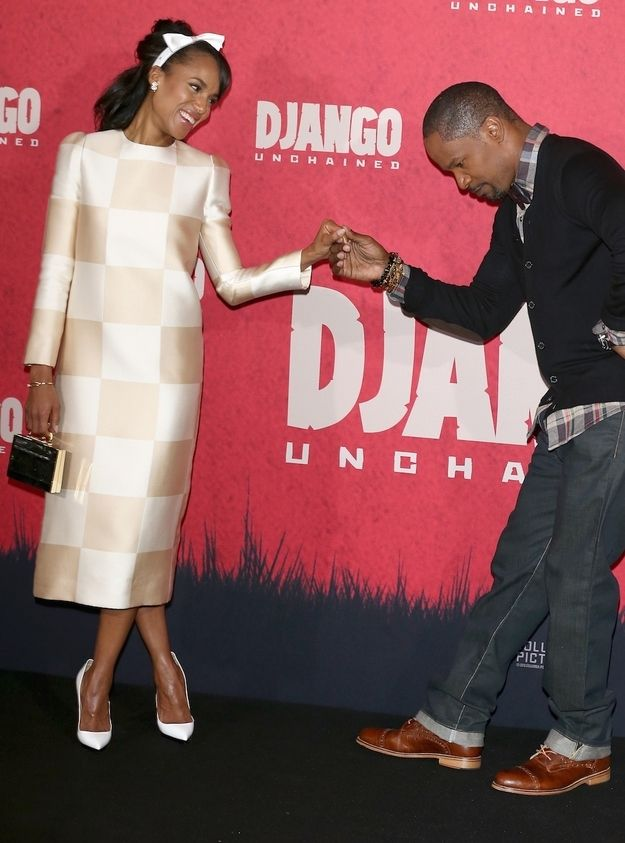 Jamie Foxx And Kerry Washington Are Too Cute On The Red Carpet Together Kerry Washington Style Kerry Washington King Fashion