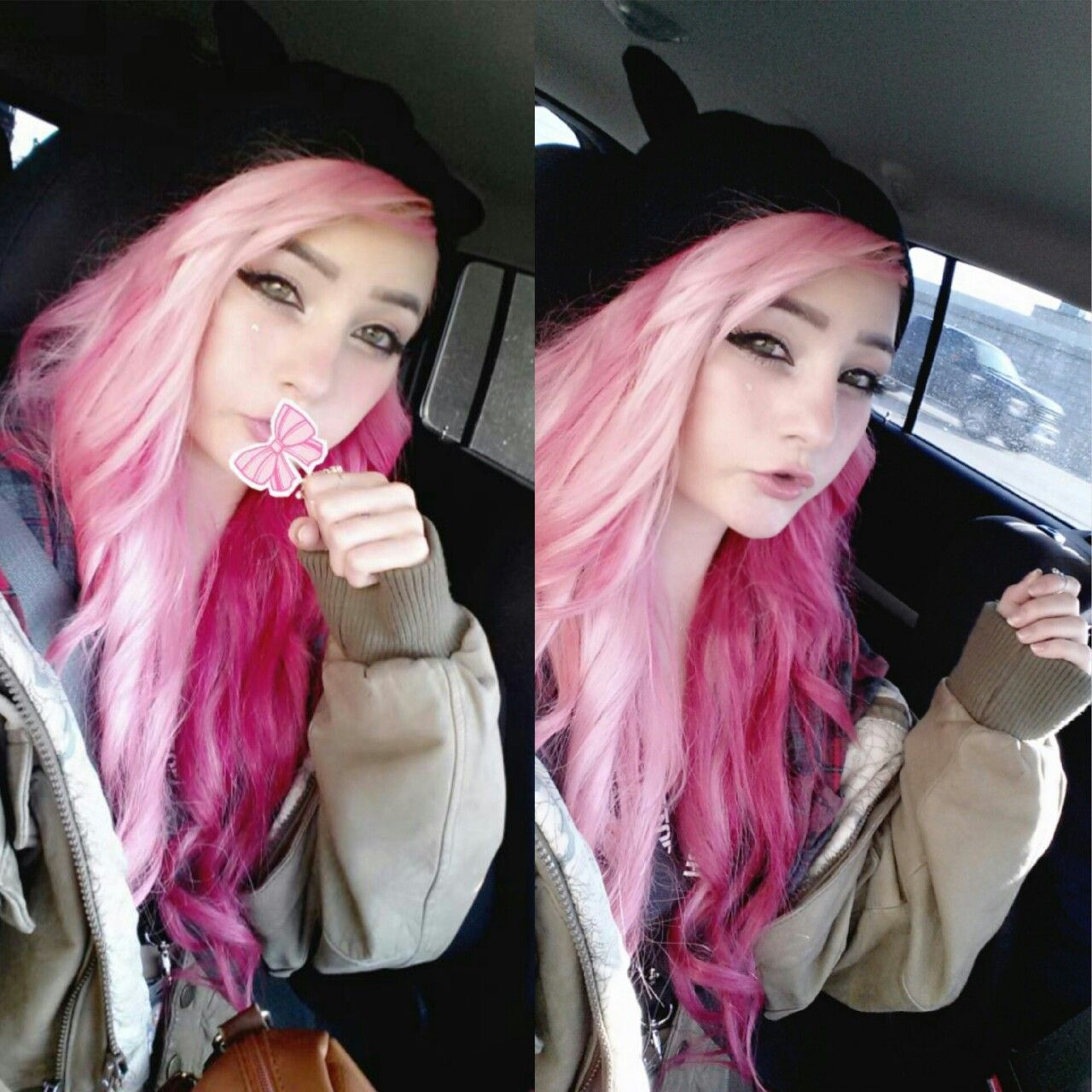 Half pink and half magenta two tone contrast hair pink hair