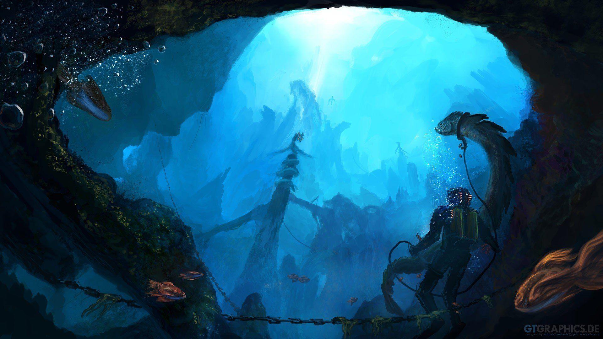 Walldevil Wallpapers A88 World Fantasy Wallpaper Sea Underwater Creatures Art Artwork Diver