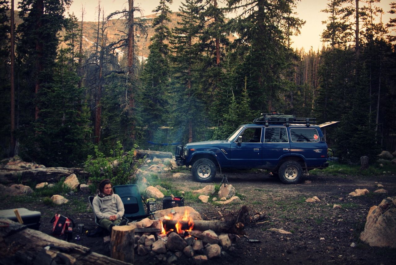 """""""Camped like my dad the other weekend. Drove through streams and over boulders, past good campsites… Then through more streams and over more boulders… And past more really good campsites but kept going until that one spot felt """"just right."""" It worked, thanks Pops."""""""