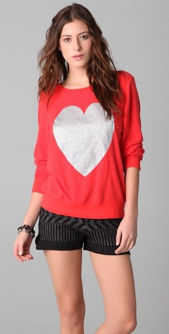 Wildfox Silver Sparkle Heart Baggy Beach Sweatshirt Wildfox Couture thestylecure.com