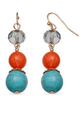 Jules B  Gold-Tone Summer In St. Barts Triple Drop Bead Earrings