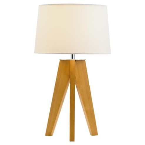 Buy Tesco Lighting Tripod Wooden Table Lamp From Our Table Lamps Range    Tesco.com