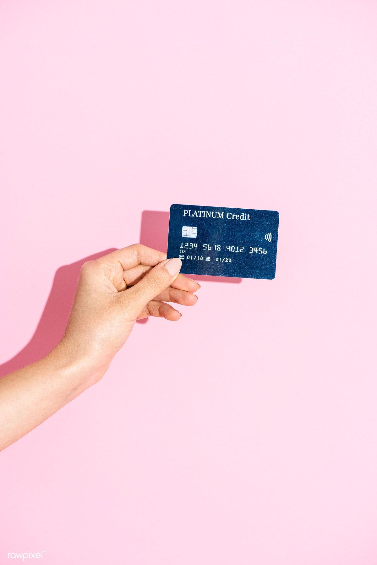 Download Premium Image Of Woman Holding A Credit Card Against A Pink Credit Card Icon Credit Card Images Card Illustration
