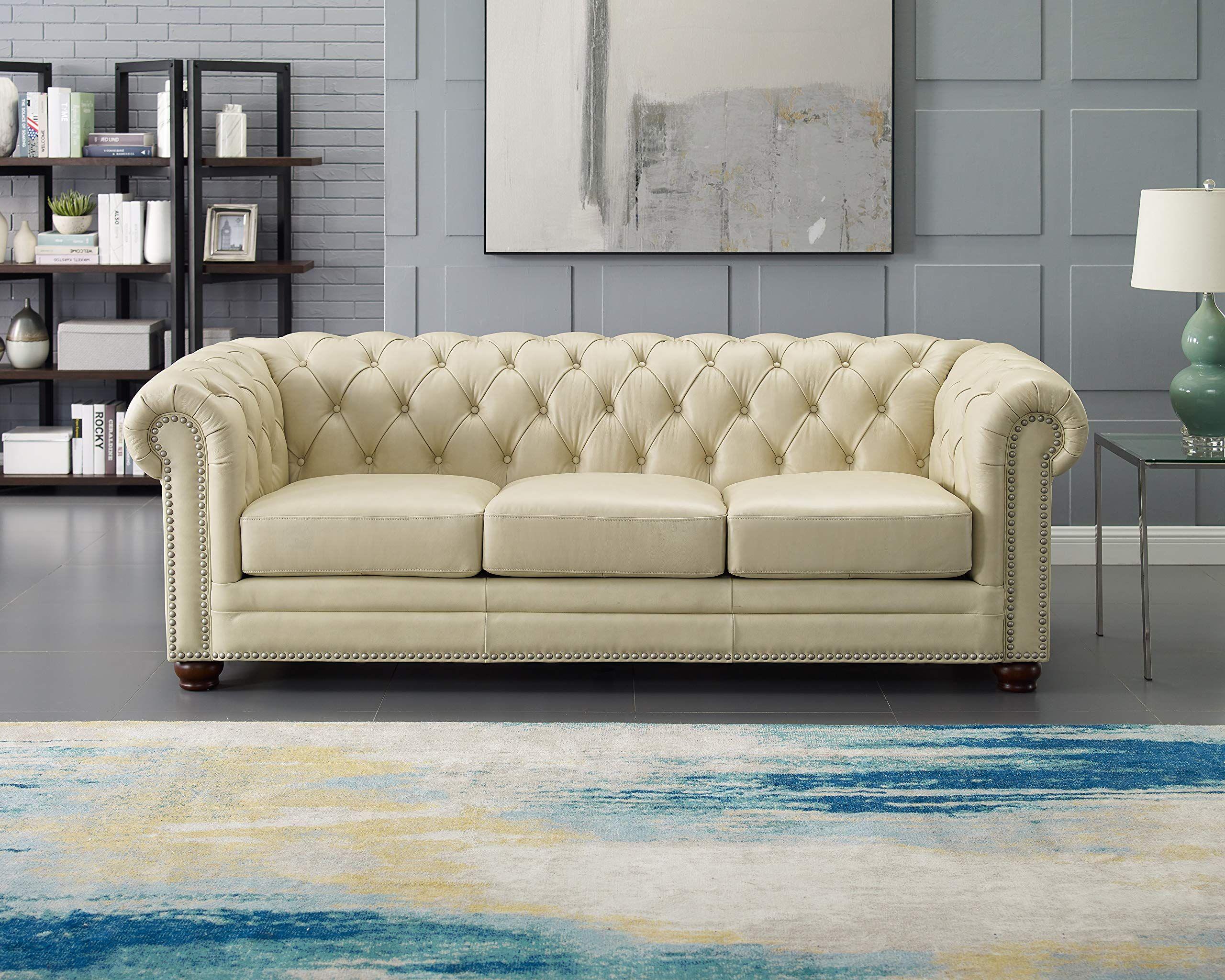 Hydeline Aliso 100 Leather Sofa Set Sofa Ivory In 2020 Leather Sofa Living Room Leather Sofa Couch Sofa