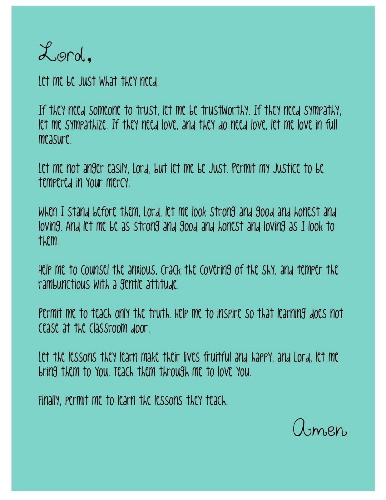 A teacher's prayer - I love this. Amen indeed.