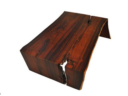 Live edge cocobolo wood coffee table with polished glass - Cocobolo tisch ...