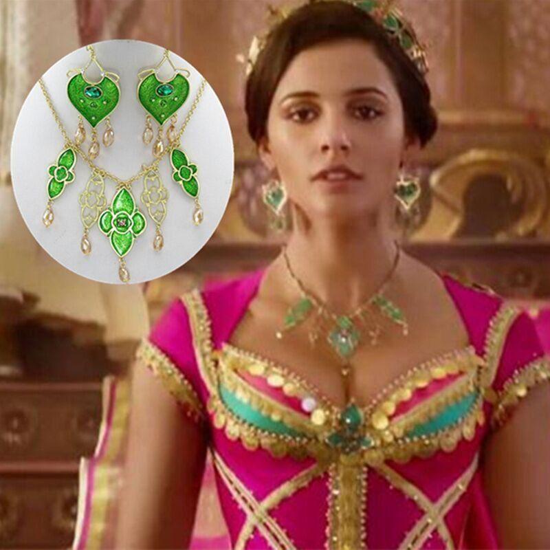 2019 Movie Aladdin Princess Jasmine Heart Necklace Earrings Naomi