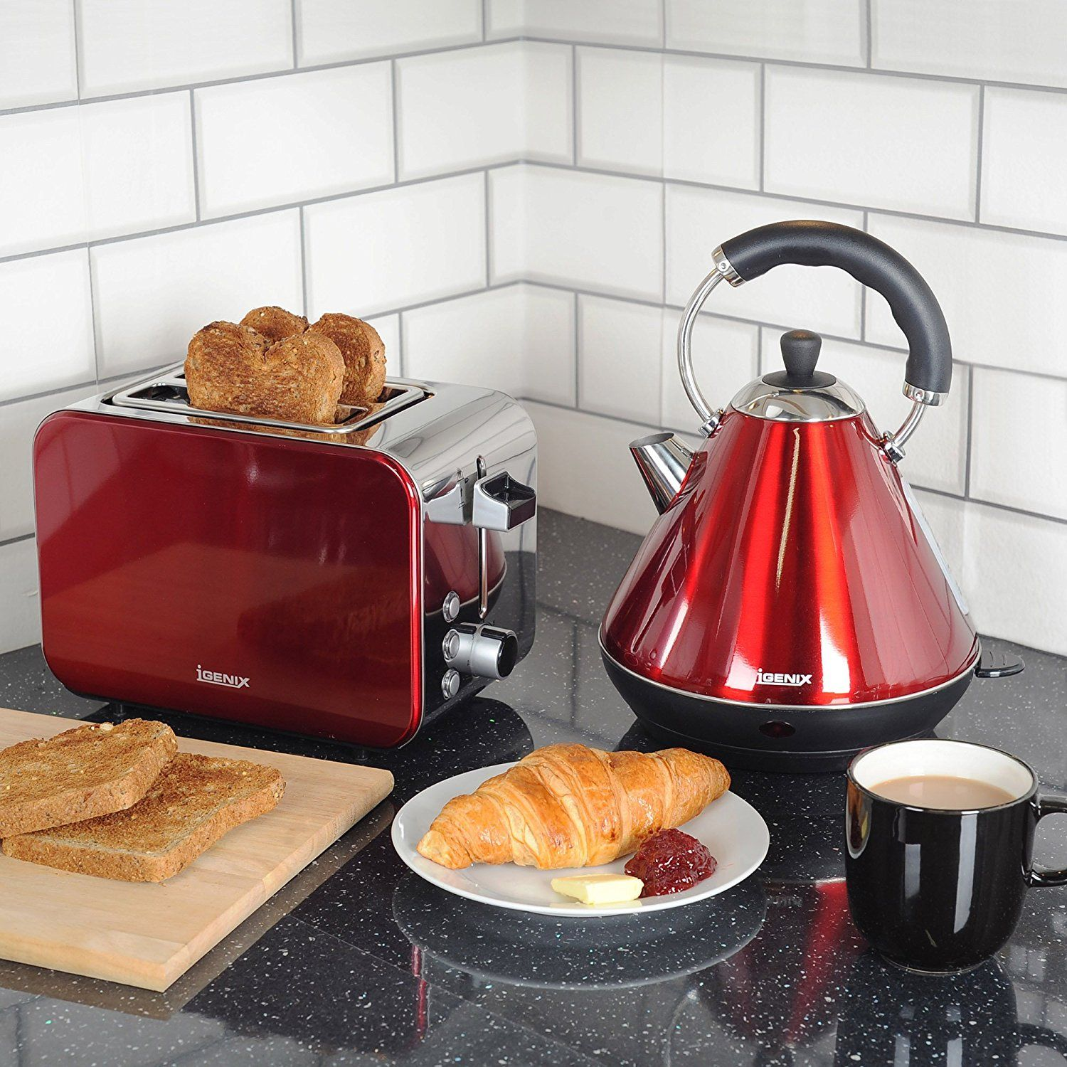 1a914bacf0e1 Igenix IGPK12 Breakfast Set, Pyramid Kettle and 2 Slice Toaster - Metallic  Red: Amazon.co.uk: Kitchen & Home