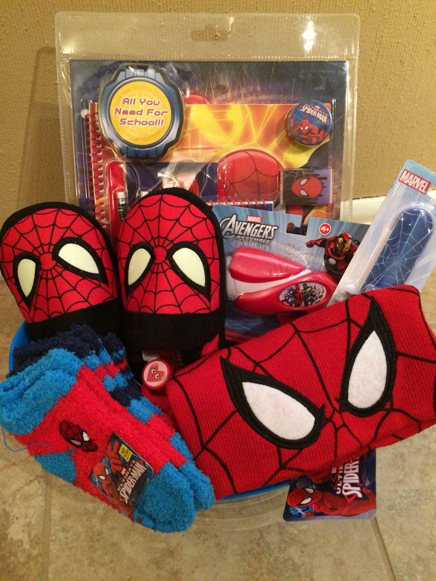 Spider Man Gift Basket #Giftbaskets #giftbasketideas #gifts
