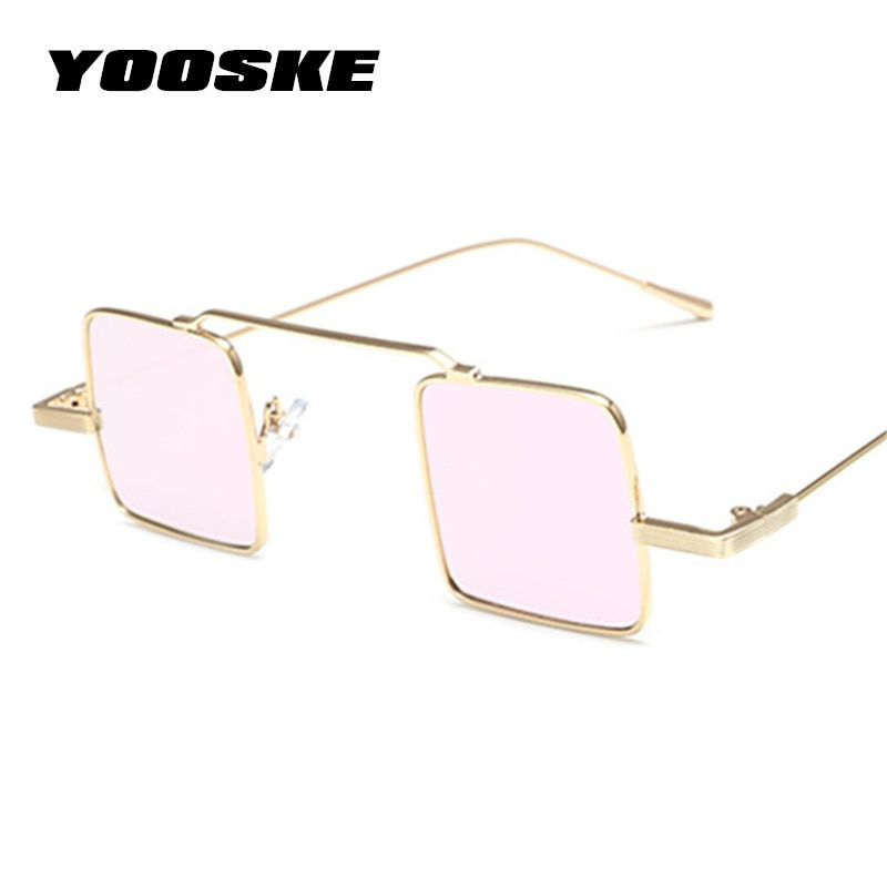 662f926fc275 YOOSKE Small Square Sunglasses Womens Vintage Brand Designer Reflective Glasses  Frame Women Men Metal Steampunk Sun Glasses