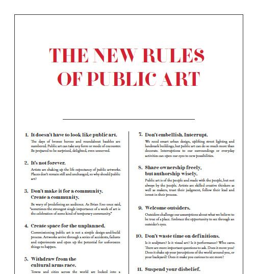 The New Rules Of Public Art Except For 4 Too Often The