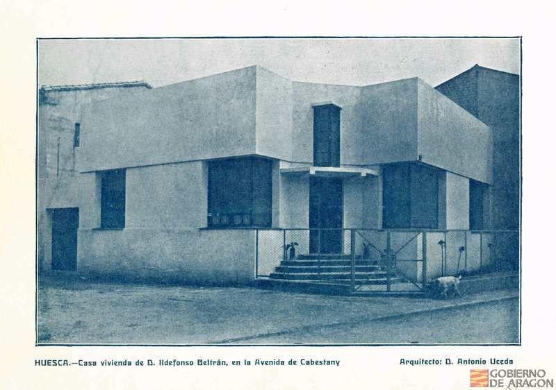 Casa vivienda de D. Ildefonso Beltrán en la avenida Cabestany (Huesca)