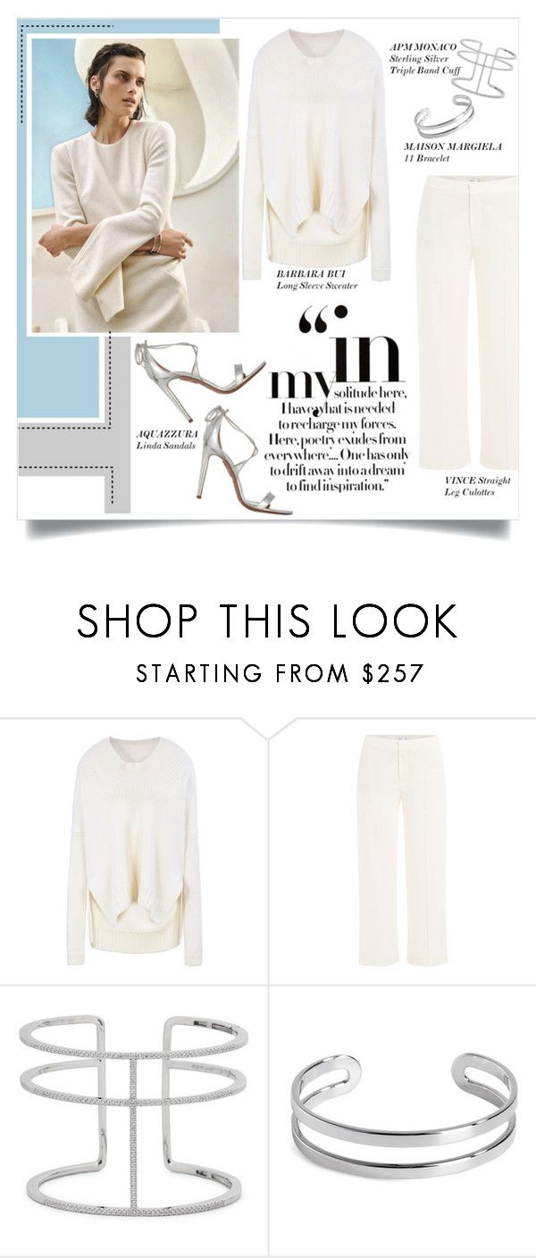 """""""Silver Dreams"""" by mila-me ❤ liked on Polyvore featuring Barbara Bui, Vince, APM Monaco, Maison Margiela, Aquazzura, white, Silver, sandals, jewelry and culottes"""