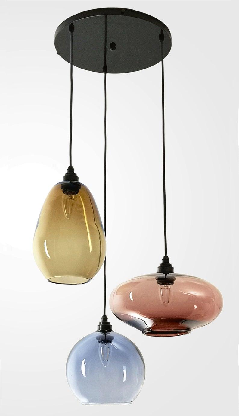 Modern Hand Blown Glass Chandelier Coloured Glass Pendant Lights