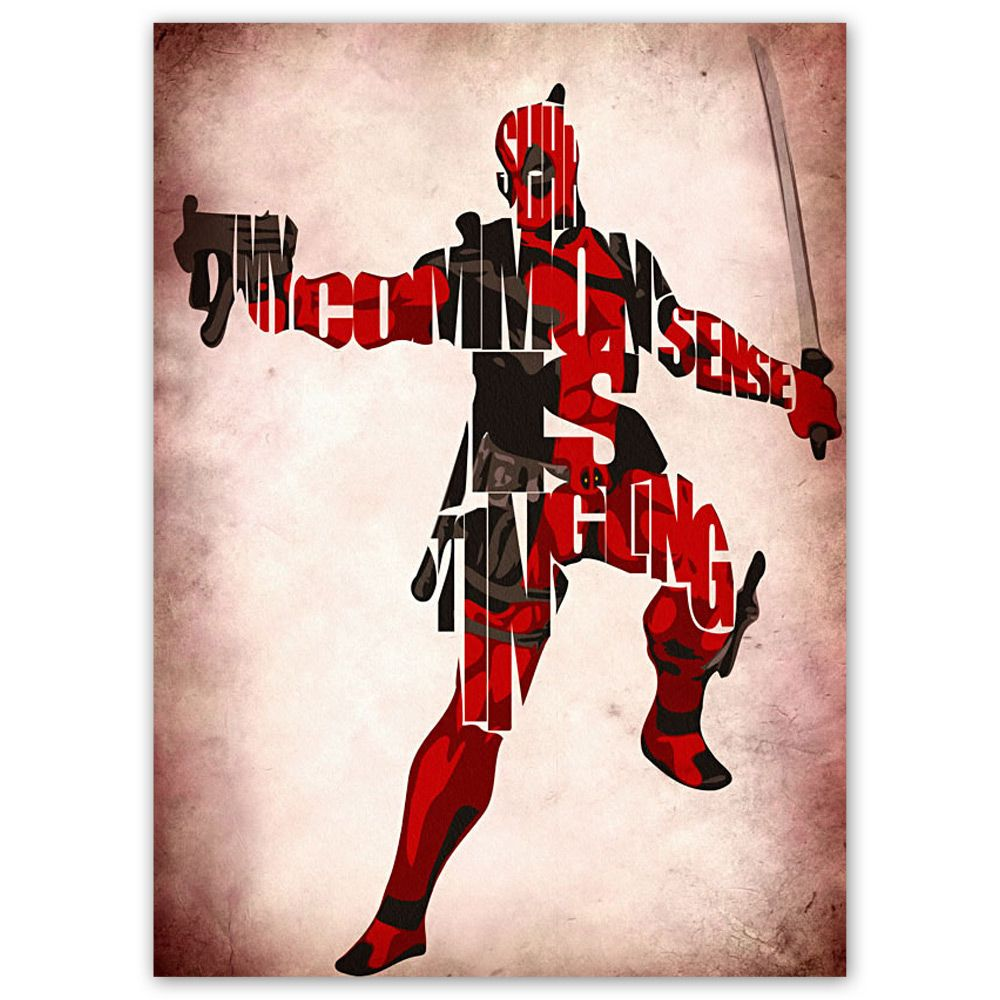 deadpool by geek my wall on pop com au typographic on poster my wall id=61146